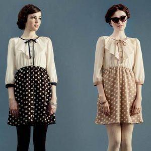 ModCloth dear creatures navy polkadot dress XS